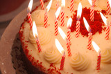 birthday cake lighted candles poster