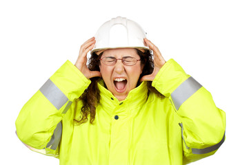 angered female construction worker