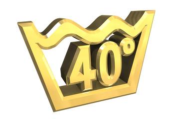 simbolo lavaggio 40° in oro - washing symbol