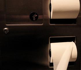 toilet paper dispenser in public bathroom