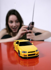 woman and rc car