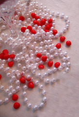 pearl strings and hearts