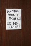 sign beautiful bride in progress funny comical poster
