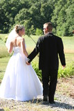 walk away bride groom tux dress gown black white poster