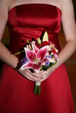 red dress gown wedding flower bouquet lilly pink poster