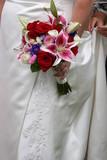 wedding dress gown flower bouquet pink red poster
