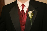 tux, shirt, tie, coat, flower, red, black, white poster