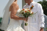beach bride and groom white dress linen shirt poster