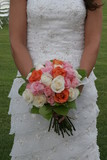 white dress gown flower bouquet orange white rose poster