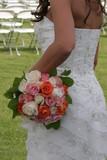 elegant flower bouquet dress gown white back arm poster