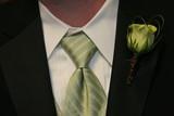 tux man green flower tie black white poster