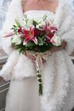 white wedding dress gown flower arrangement poster