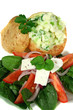 stuffed baked potato and salad