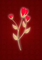 gold shine flower - heart
