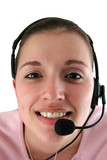 young woman with headset poster