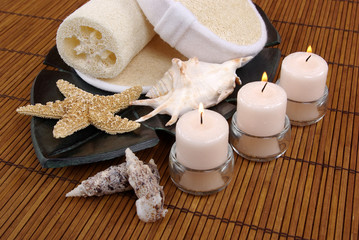 candles and seashells