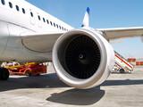 turbina del motor de un avion poster