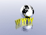 3d world wide web internet symbol and globe poster