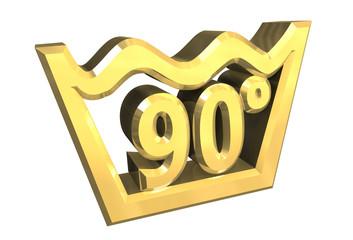simbolo lavaggio 90° in oro - washing symbol