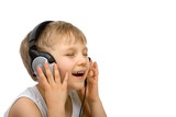 happy boy listening with headset poster