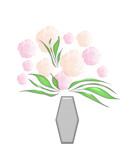 pastel flowers in silver vase poster