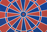 blue and red dart board poster