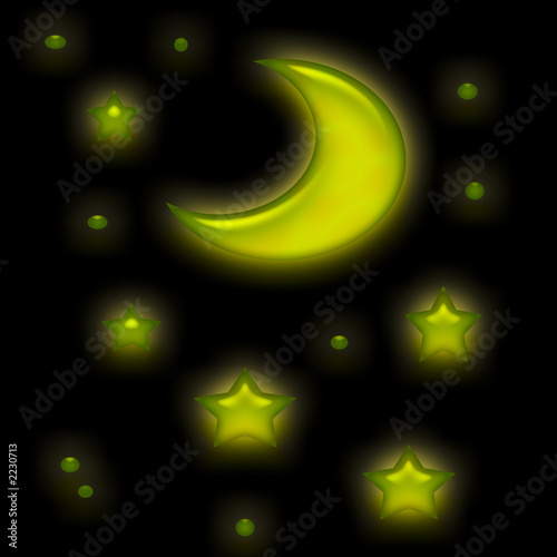 poster of moon  shine and stars on black