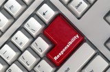 keyboard with -responsibility- button poster