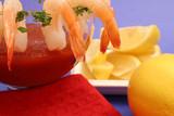 shrimp cocktail w/ lemons on blue & red napkin poster