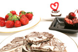 chocolate bark & strawberries on top poster