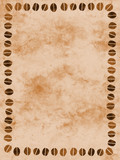 marbled paper with coffee bean border