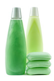set of green color hygienic supplies poster