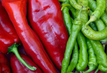 red hot and green  peppers