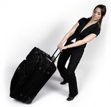 woman and suitcase poster