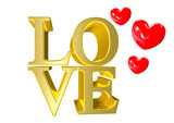 love as gold 3d text with red hearts