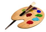 produkt fotografie künstler pinsel mit farb palett poster