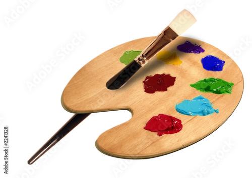 produkt fotografie künstler pinsel mit farb palett