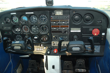 cockpit of a private aircraft