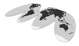 map of the world flat grey poster