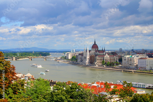 Poster hungarian parliament on the danube