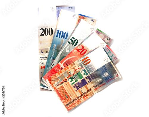 billets de francs suisse en éventail