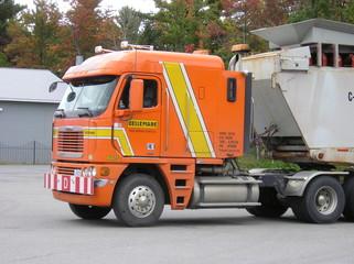 orange freightliner truck
