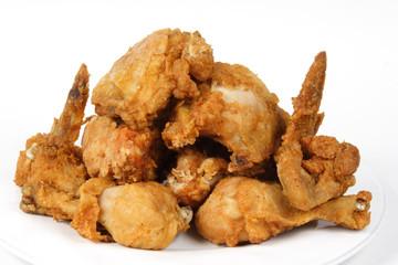 pile of crispy golden brown fried chicken