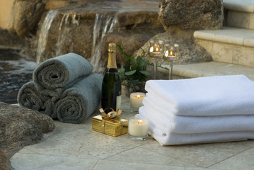 waterfall spa towels and champagne 10