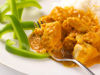 thai peanut chicken curry with sliced green pepper