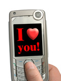 mobile phone in hand, i love you! on display poster