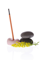 fragrant incense, pebbles and flower