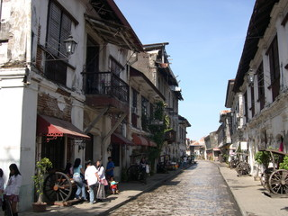 antique shops on street in vigan, philippines