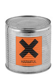 food tin can with harmful sign poster