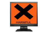 lcd screen with harmful sign poster